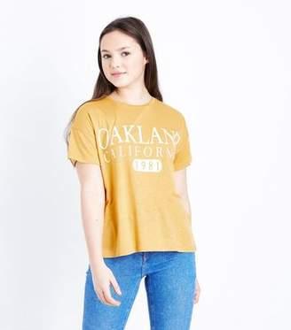 New Look Teens Mustard Oakland California Slogan T-Shirt
