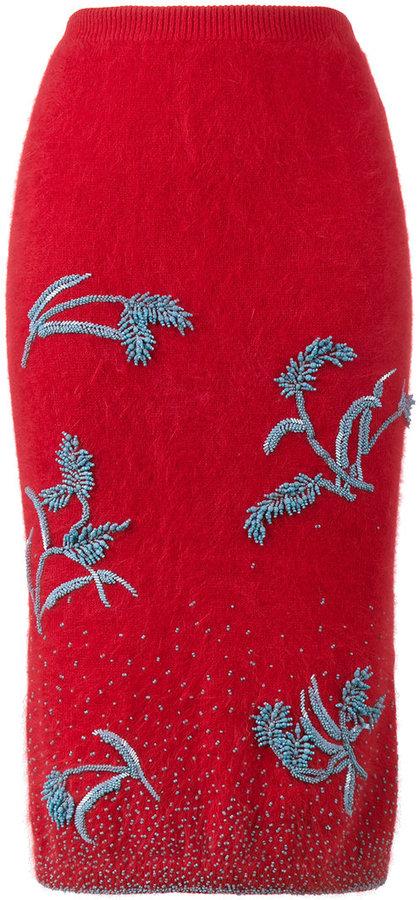 Prada angora beaded skirt