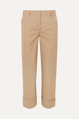 Prada Cropped Cotton Straight-leg Pants - Beige