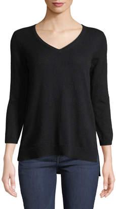 Neiman Marcus Basic Cashmere V-Neck Sweater, Black