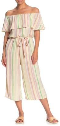 Blvd Striped Off-the-Shoulder Crop Jumpsuit