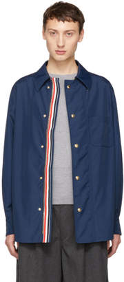 Thom Browne Navy Tech Zip-Up Overshirt Jacket