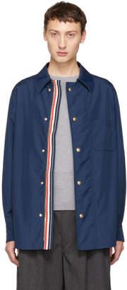 Thom Browne Navy Tech Zip-Up Overshirt Jacket