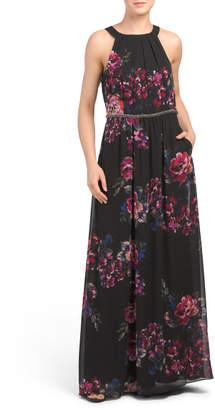 SL Fashions Floral Print Halter Maxi Dress