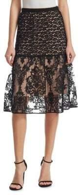 No.21 No. 21 Contrast Lace Midi Skirt