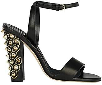 Brian Atwood WOMEN'S CRAWFORD LEATHER SANDALS - BLACK SIZE 7.5