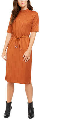 Alfani Mock-Neck Belted Dress