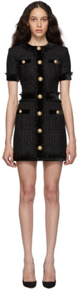 Balmain Black Tweed Short Dress