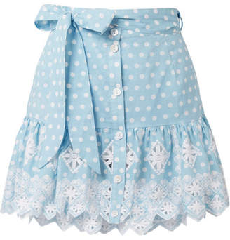 Miguelina Emy Broderie Anglaise-trimmed Polka-dot Cotton Mini Skirt - Light blue