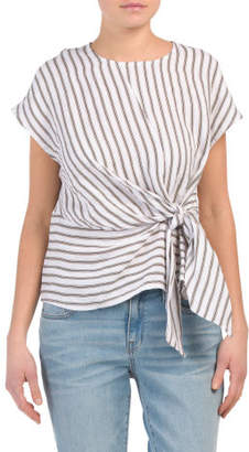 Made In Italy Linen Striped Knot Detail Top
