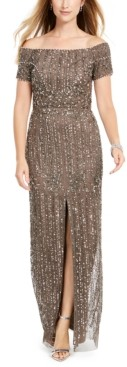 Adrianna Papell Off-The-Shoulder Beaded Gown, Regular & Petite Sizes