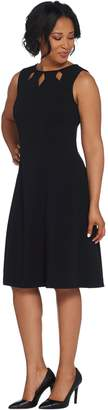 Dennis Basso Luxe Crepe Sleeveless Dress with Cut-Out Detail