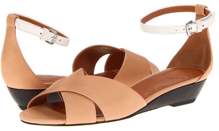 Marc by Marc Jacobs Clean Wedge (Vacchetta Nude/Black/White) - Footwear
