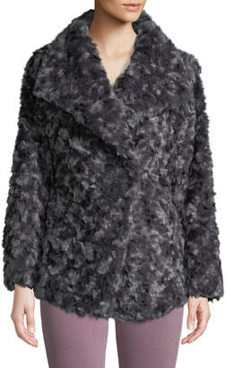 T Tahari Oversized-Collar Faux-Fur Jacket
