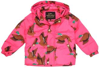 Mini Rodini Duck Print Hooded Nylon Puffer Jacket