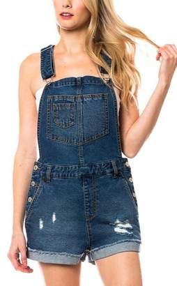 Lyn Maree's Distressed Denim Overall Shorts