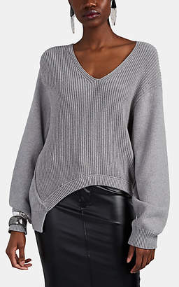 Alexander Wang Women's Chunky Mixed-Knit Cotton-Blend Asymmetric Sweater - Gray