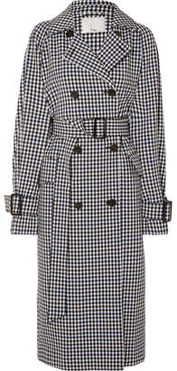 Tibi Gingham Twill Trench Coat - Black