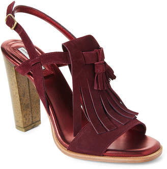 Dries Van Noten Burgundy Tasseled Kiltie Slingback Block Heel Sandals