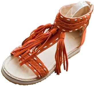 DecoStain Women's Fashion Summer Suede Fringe Tassel T-Strap Flats Sandals