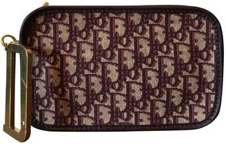 Christian Dior Burgundy Cotton Clutch Bag