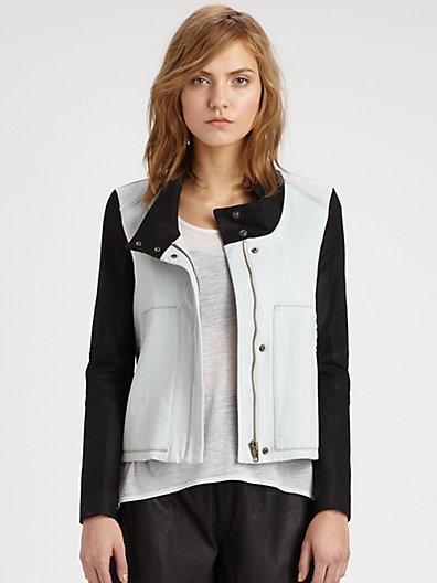 Helmut Lang HELMUT Leather-Trimmed Denim Jacket