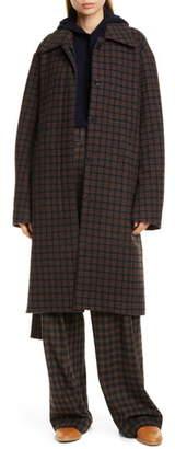 Vince Check Wool Blend Long Coat