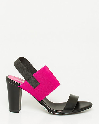 Le Château Leather-Like & Elastic Block Heel Sandal