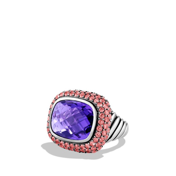 David Yurman Waverly Ring with Amethyst and Pink Sapphires