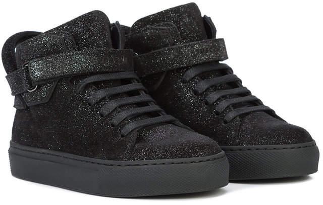 Buscemi Kids touch strap glitter sneakers