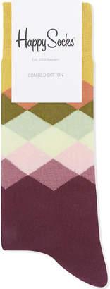 Happy Socks Mens Navy Vibrant Diamond Pattern Cotton