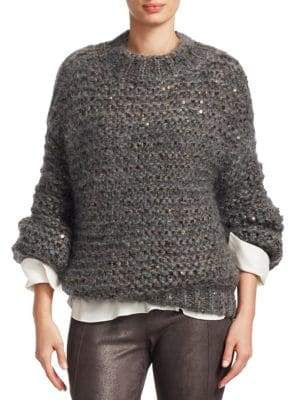 Brunello Cucinelli Metallic Cable Knit Sweater
