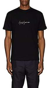 Yohji Yamamoto Men's Logo-Embroidered Cotton T-Shirt - Black