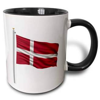 3dRose Flag of Denmark on a flag pole over white Danish - Two Tone Black Mug, 11-ounce