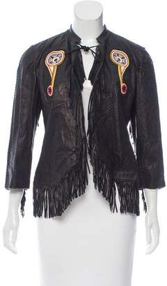 Trussardi Fringe Trim Leather Jacket w/ Tags