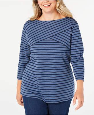 Karen Scott Plus Size Striped Top