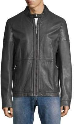 HUGO BOSS Gavus Leather Moto Jacket