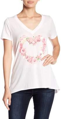 Chaser Rose Heart Hi-Lo V-Neck Tee