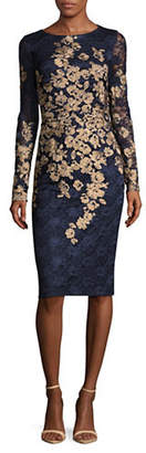 Xscape Evenings Embroidered Floral Lace Sheath Dress