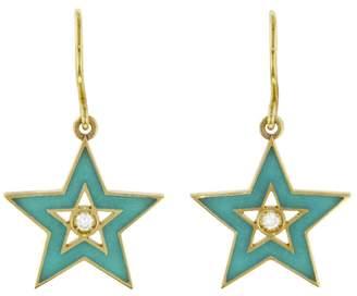 Andrea Fohrman Medium Turquoise Enamel Star Earrings - Yellow Gold