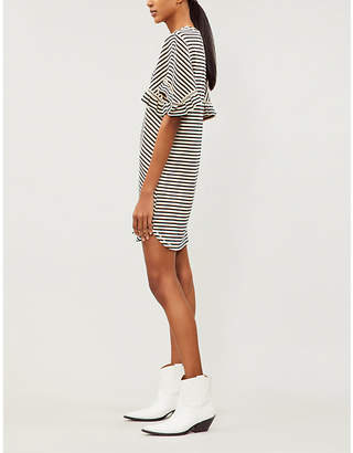 See by Chloe Striped frilled cotton-jersey dress