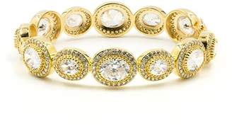 Freida Rothman 14K Yellow Gold Plated Sterling Silver Bezel Set CZ Halo Majestic Bangle