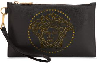 Versace Perforated Medusa Grained Leather Pouch
