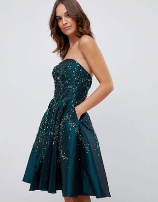 Forever Unique bandeau prom mini dress with embellished detail