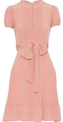 RED Valentino Bow-Detailed Pleated Silk Wrap Dress