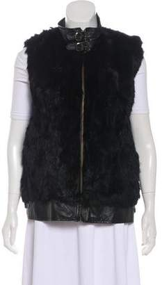 Gray Fur Leather-Trimmed Vest