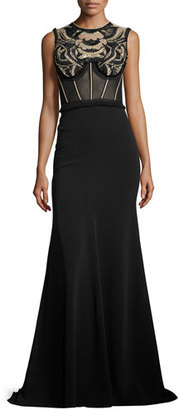Jenny Packham Embroidered Sleeveless Corset Gown, Black $4,950 thestylecure.com