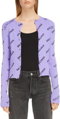 Balenciaga Logo Print Rib Knit Cardigan