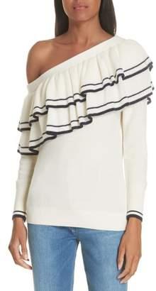 Frame Ruffle One-Shoulder Wool Blend Sweater
