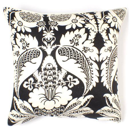 Thomas Paul Damask in Ebony Linen Pillow